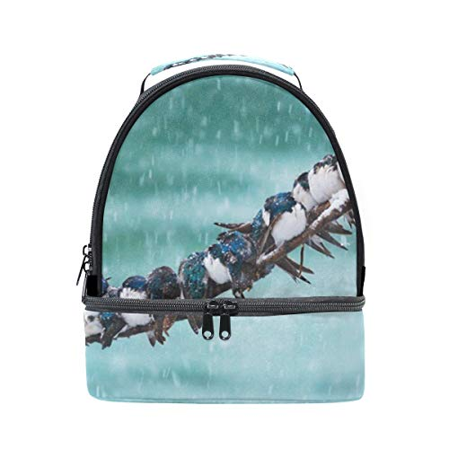 Lunch Bag Steady Snow Animals Birds Cute Womens Insulated Lunch Tote Zipper Kids Lunch Box