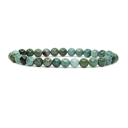 Green Jasper Bracelet (Natural Australian Blood Jasper Gemstone 6mm Round Beads Stretch Bracelet 7