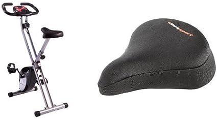 Ultrasport F-Bike - Bicicleta estática, peso máximo ca. 100 kg con funda para sillín de bicicleta con inserciones de gel: Amazon.es: Deportes y aire libre
