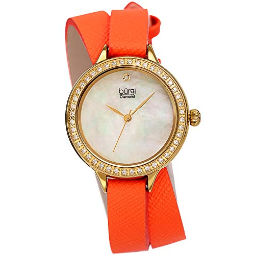 Burgi Safiano Leather Women's Watch - Crystal Studded Bezel, Fashionable Pink Strap, Genuine Diamond Marker, Mother of Pearl Dial - BUR224PK from Burgi
