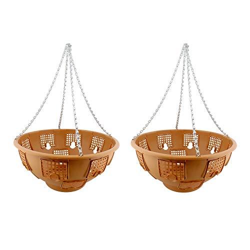 7Penn Outdoor Hanging Baskets, Hanging Basket for Hanging Plants, Hanging Plant Holder 2pk in Terracotta/Orange (Terra Cotta Hanging Basket)