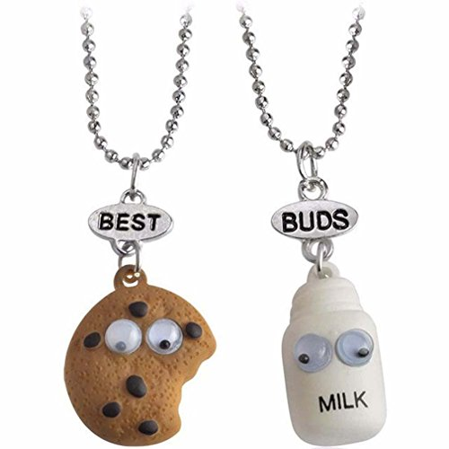 MJARTORIA Best Buds Cute Milk and Cookie Friendship Necklaces Set of 2