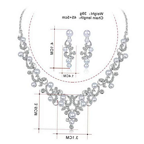 (Waldenn Wedding Bridal Crystal Necklace Earrings Jewelry Set Women Costume Gift Party | Model ERRNGS - 13097 |)