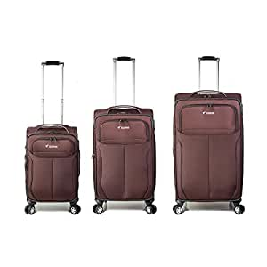 Set of 3 Trolley Bag with 4 wheel system - Brown - Model: 8827