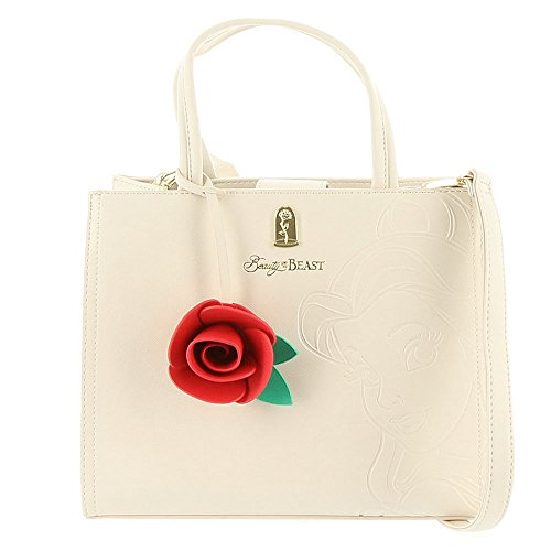 Loungefly x Beauty And The Beast Belle Embossed Charm Bag White Belle Rose Purse