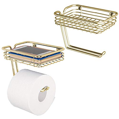 (mDesign Toilet Tissue Paper Holder and Multi-Purpose Shelf - Wall Mount Storage Organizer for Bathroom, Holds 1 Mega Rolls - Durable Metal Wire Design - 2 Pack - Soft Brass)