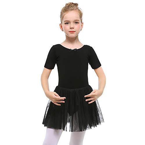 STELLE Girls Toddlers Short Sleeve Tutu Ballet Dress Leotard for Dance (Black, L)
