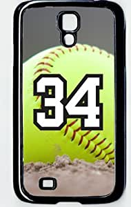 Softball Sports Fan Player Number 34 Decorative Black Rubber Samsung Galaxy S4 Case by ruishername