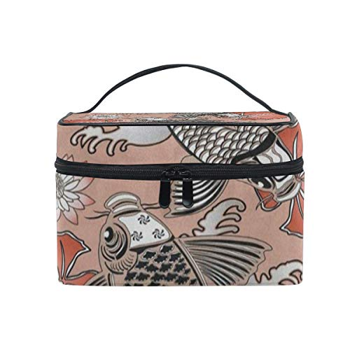(Makeup Bag Traditional Japanese Koi Carp Fishes Lotus Flower Cosmetic Bag Portable Large Toiletry Bag for Women/Girls Travel )