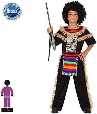 Atosa-guerrero Disfraz Zulú, color (schwarz/bunt), 5 a 6 años ...