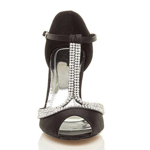Cinturino Tacco Sandali Donna Peep Toes Scarpe bar Bridal Con Numero T Alto Nero 8TwFwqAd