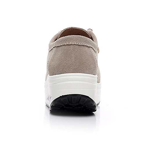 Rismart Dames Suede Vormhoge Wandelschoenen Lichtgewicht Swing Wedge Schoenen Fashion Sneakers Beige 1061 Us6.5