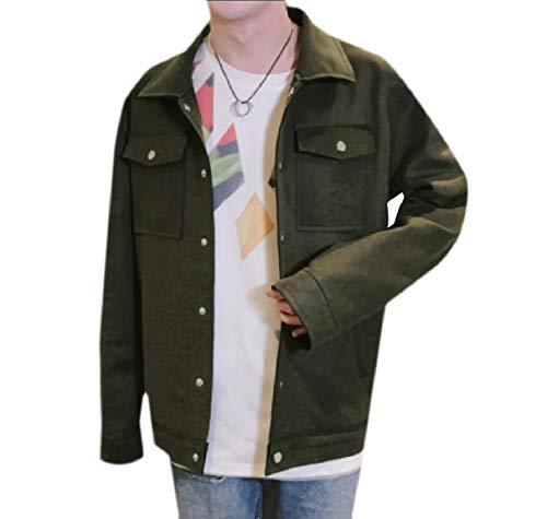 Green Men's Coat Warm RkBaoye Embroidery Autumn Loose Faux Jacket Blackish Suede Buckle wPPfq