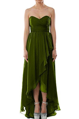 MACloth Women Strapless Chiffon Hi Lo Bridesmaid Dress Wedding Party Formal Gown Verde Oliva