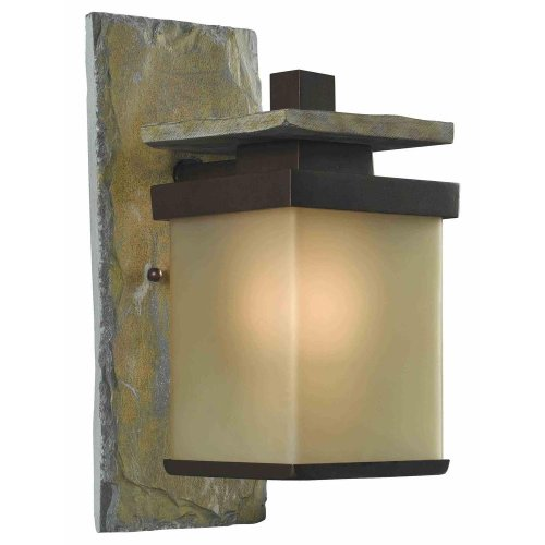 Quarry 1 Light Outdoor Natural Slate and Copper Bronze Exterior Wall Lantern For Sale