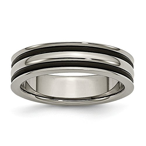 ICE CARATS Titanium 6mm Grooved Black Rubber Wedding Ring Band Size 10.00 Fashion Jewelry Gifts for Women for Her