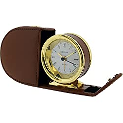 Gift Time Products Unisex Leather Case Alarm Clock - Gold/Tan