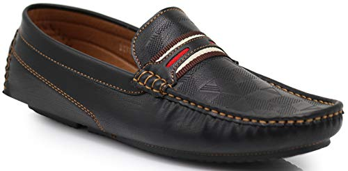 ht Casual Monogram Cruise Venetian Classic Driving Moccasin Penny Loafer Driver Shoes (13 D(M) US, Black) ()
