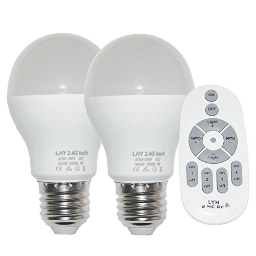 Fjiangyi 6W E27 Smart LED Light Bulbs Dimmable with 2.4GHz Wireless 4-Zone Remote Control – Adjustable Color Temperature (Warm/Cool) and Brightness 2 Pack (2 Bulb+1 Remote)