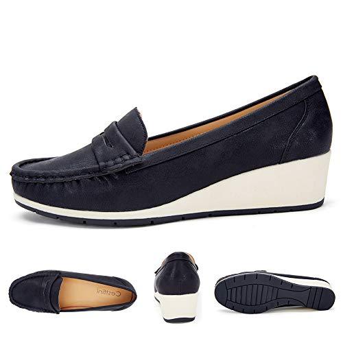 Mode Convient Femme Des Toutes Pour Confortable Chaussures Platform Noir Noir4 En Cuir Métal Les Compensee Talon La Attaches Mocassins À Avec Saisons avqqxAXw