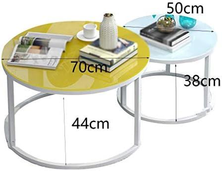GWW Table Basse en Verre, Ensemble de Deux Tables Basses combinées de Salon/Salle à Manger Table Basse en Fer Art de Fer (Couleur: A)