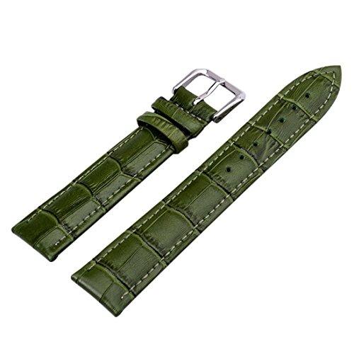 Green Unisex 7 Colors Genuine Leather Alligator Crocodile Grain Watch Strap Band (Green Crocodile Leather Watch)