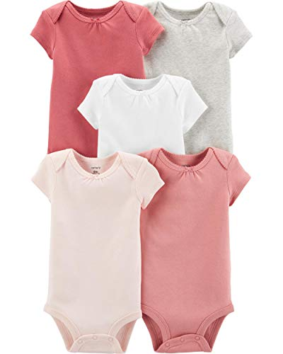 (Carter's Baby Girls' 5 Pack Bodysuits (Heather/Ivory/Pink, 6 Months))