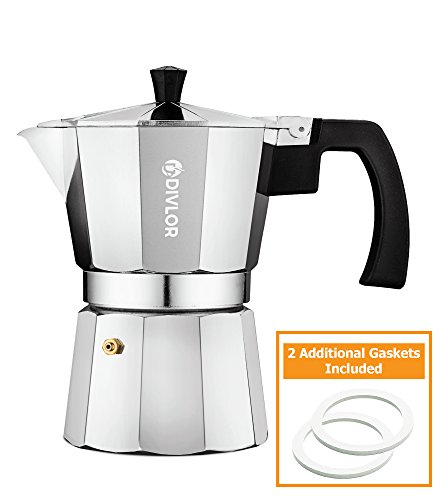 Stovetop Espresso Maker - Moka Pot, Aluminum Espresso Machine, 3 Cup, 2 Extra Gaskets Included, By Divlor (Espresso Handles Stovetop Maker)