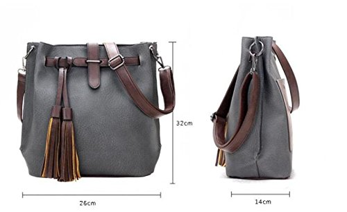 Bag Leisure Shoulder Fashion JPFCAK Ladies Bucket Bags E Ms Portable Bag Retro Oblique Tassel Big Bag nAnqXFwz