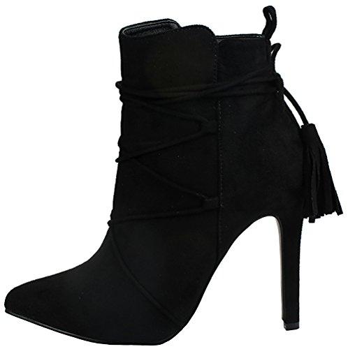 Jjf Zapatos Mujer Audrey Borla Decoración Punta Estrecha Faux Suede Zip Soft Fur-forrado Tacón De Aguja Tobillo Botín Negro