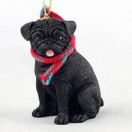 pug black with scarf christmas ornament large 3 inch version dog