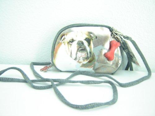 Fuzzy Nation Bulldog Wallet On A String Grey