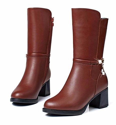 Mère Chaussures brown Femmes Laine Khskx Coréenne L'âge Simili Hiver Mûr Cuir Des Coton De Bottes 35 Et 4cm Version Sauvages ndYwWqCX