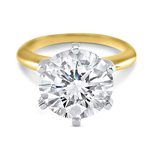 3 Carat 9mm round Forever ONE moissanite solitaire engagement ring 14k yellow gold 6 prong
