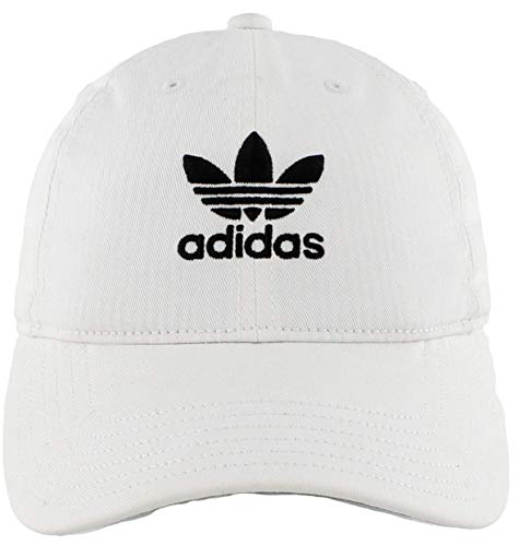 adidas Originals Men's Relaxed Strapback Cap, White/Black, ONE SIZE (Mens Strapback Hats)