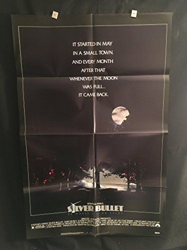Silver Bullet 1985 Original One Sheet Movie Poster, Stephen King, Gary Busey, Horror, Werewolf,