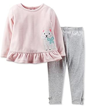 Carters Infant Girls 2 Piece Set PInk Dog Sweatshirt & Stripe Gray Leggings
