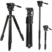 COMAN KX3939 Video Tripod with 360 Fluid Head for Camcorder and DSLR Camera 70.8 inches