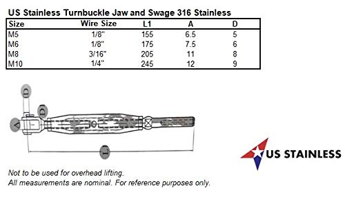Stainless Steel 316 M8 Turnbuckle Rigging Screw Jaw and Swage Marine Grade Suits 3//16 Wire