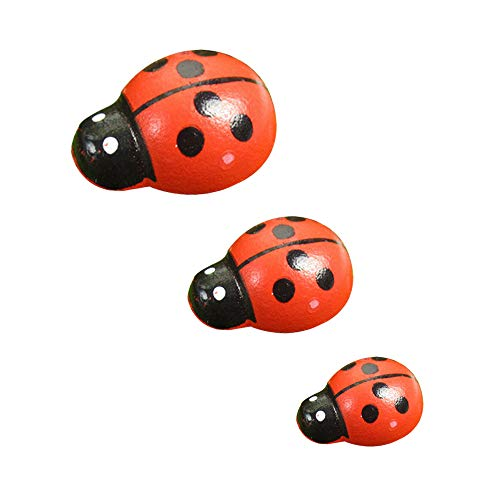 Ladybugs Stickers - 200 Pcs Mini Wooden Ladybugs Stickers with 3 Sizes for Fairy Garden Dollhouse Home Decor