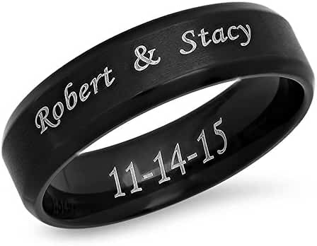 7mm Stainless Steel Beveled Edge Brushed Center Ring - Free Engraving