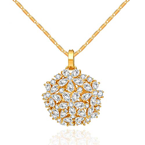 3A Cubic Zirconia Pendent Necklace, 16''+ 2