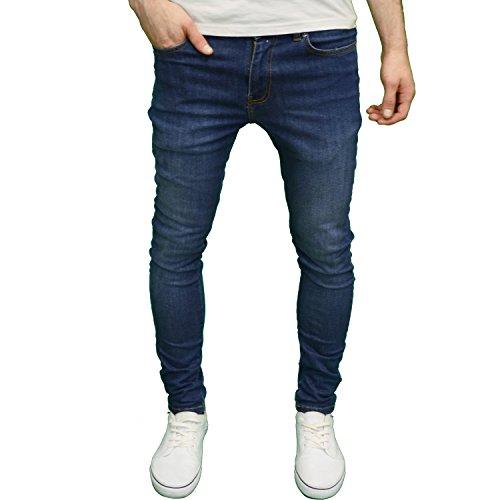 526Jeanswear Mens Designer Branded Stretch Super Skinny Fit Jeans (40W x 32L, Mid Stonewash)