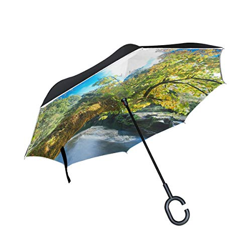 Rock Waterfall Layered - Reverse Umbrella,River Rocks Trees Waterfalls Autumn Nature Inverted Night Reflective Edge Golf Umbrellas,Double Layered Polyester Canopy,O-Shape Handle