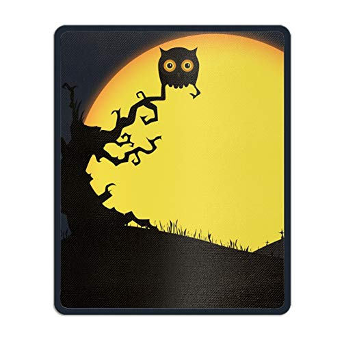 Art Mousepad Natural Rubber Printed with Halloween Owl Stitched Edges 8.66 x 7.08 inch ()
