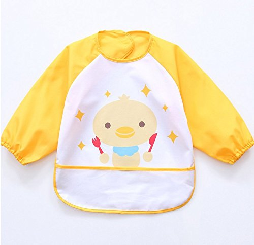 Waterproof Bib with Sleeves& Pocket, Unisex Kids Childs Arts Craft Painting Apron 6-36 Months