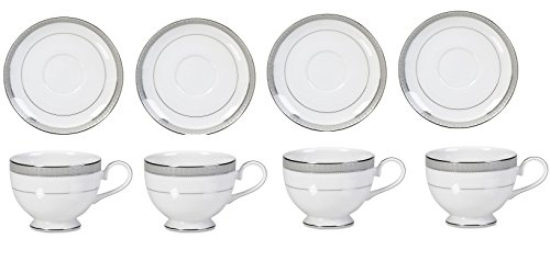 Mikasa Platinum Crown Tea Cups and Saucers set of 8 Service for 4
