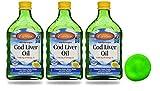 Carlson Norwegian Cod Liver Oil, Lemon.Without the Fishy Taste [16.9 fl oz (500ml)] 1100 mg of Omega-3s [3 pack] + Free Stress Ball