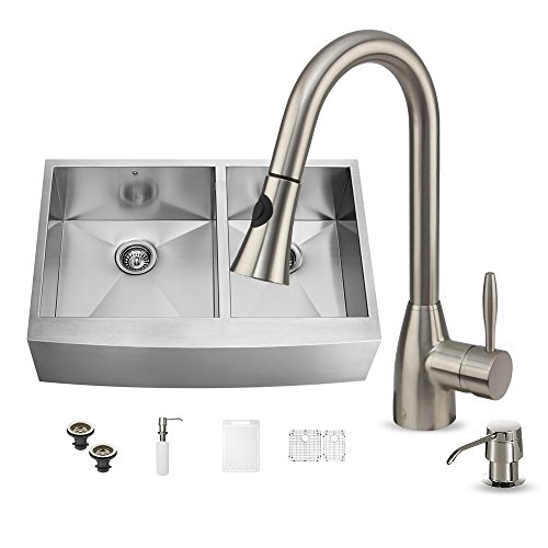 VIGO 36 inch Farmhouse Apron 60/40 Double Bowl 16 Gauge Stainless Steel Kitchen Sink with Aylesbury Stainless Steel Faucet, Two Grids, Two Strainers and Soap Dispenser price