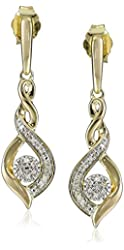 Yellow Plating Over Sterling Silver with White Diamond Earrings (1/10cttw, I-J Color, I2-I3 Clarity)